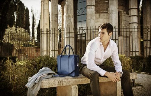 Handsome young man in Italy with ENQUEUR Saffiano Leather Paisly Bag Q. www.enqueur.com